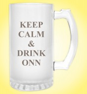Froasted Beer Mug- Keep calm and Drink Onn