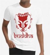 Unisex Buddha White Round Neck Dri-Fit Tshirt