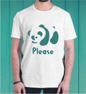 Unisex Panda White Round Neck Dri-Fit Tshirt