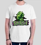 unisex Smash White Round Neck Dri-Fit Tshirt