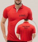 Unisex Red Polo Collar T-shirt with 1 Color Printing