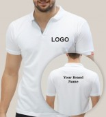 Unisex White Polo Collar T-shirt with Multi Color Printing