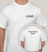 Unisex White Round Neck Dri Fit T-shirt with 2 Color Printing
