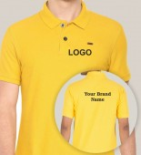 Unisex Yellow Polo Collar T-shirt with 2 Color Printing