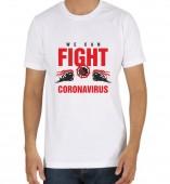 Unisex-Fight Corona White Round Neck Dri-Fit Tshirt
