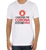 Unisex-I Survived Corona Virus Deadly White Round Neck Dri-Fit Tshirt