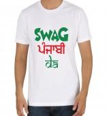 Unisex-Swag Jatt Da White Round Neck Dri-Fit Tshirt
