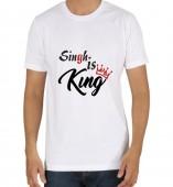 Unisex-Singh Is King White Round Neck Dri-Fit Tshirt