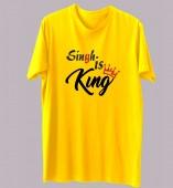 Unisex-Singh Is King Yellow Round Neck Dri-Fit Tshirt