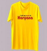 Unisex-I Left My Heart In Haryana Yellow Round Neck Dri-Fit Tshirt