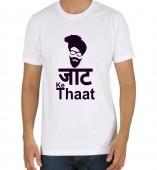Unisex-Jatt Ke Thaat White Round Neck Dri-Fit Tshirt
