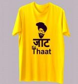 Unisex-Jatt Ke Thaat Yellow Round Neck Dri-Fit Tshirt