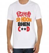 Unisex-Delhi Se Hu White Round Neck Dri-Fit Tshirt