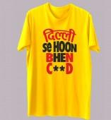 Unisex-Delhi Se Hu Yellow Round Neck Dri-Fit Tshirt