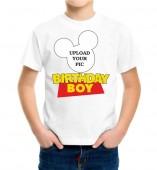 Kids-Birthday White Round Neck Dri Fit T-shirt with your Photo