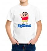Kids-Shinchan White Round Neck Dri Fit T-shirt