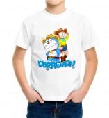 Kids-Doraemon White Round Neck Dri Fit T-shirt