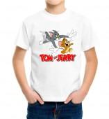 Kids-Tom and Jerry White Round Neck Dri Fit T-shirt