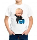 Kids-Boss Baby White Round Neck Dri Fit T-shirt
