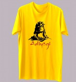 Unisex- Adiyogi Yellow Round Neck Dri-Fit Tshirt