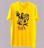 Unisex- Bhole Yellow Round Neck Dri-Fit Tshirt
