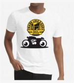 Unisex- Biker White Round Neck Dri-Fit Tshirt