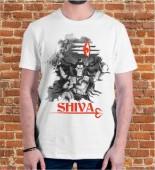 Unisex Shiva White Round Neck Dri-Fit Tshirt