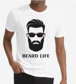 Unisex Beard Life White Round Neck Dri-Fit Tshirt