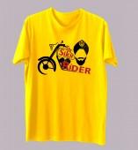 Unisex Biker- The Sikh Rider Yellow Round Neck Dri-Fit Tshirt