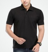 Men's Black Matte Polo Collar Tshirt