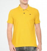 Men's Yellow Matte Polo Collar Tshirt