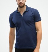 Men's Navy Blue Matte Polo Collar Tshirt
