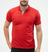 Men's Red Matte Polo Collar Tshirt