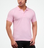 Men's Pink Matte Polo Collar Tshirt