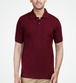 Men's Maroon Matte Polo Collar Tshirt