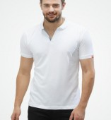 Men's White Matte Polo Collar Tshirt