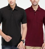 Combo Pack Of 2 Men's Polo Tshirt-Black,Maroon