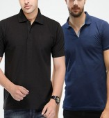Combo Pack Of 2 Men's Polo Tshirt-Black,Navy Blue