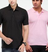 Combo Pack Of 2 Men's Polo Tshirt-Black,Pink
