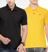 Combo Pack Of 2 Men's Polo Tshirt-Black,Yellow