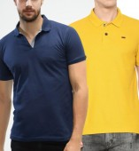 Combo Pack Of 2 Men's Polo Tshirt-Navy Blue,Yellow