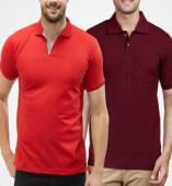 Combo Pack Of 2 Men's Polo Tshirt-Red,Maroon